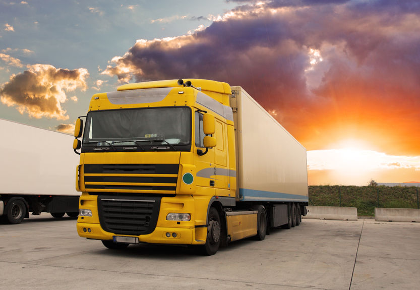 36904579 - truck - cargo transportation with sun