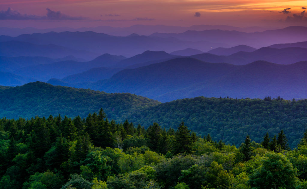 Sunset from Cowee Mountains Overlook