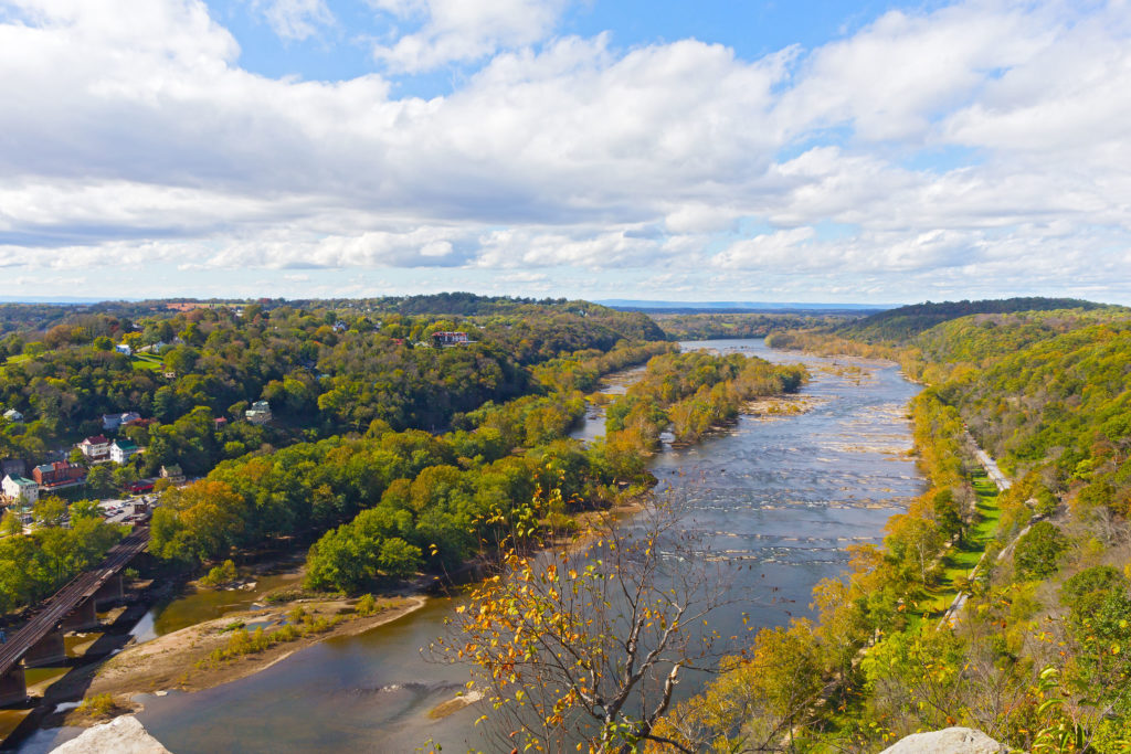 Aerial view on a trail along Potomac River